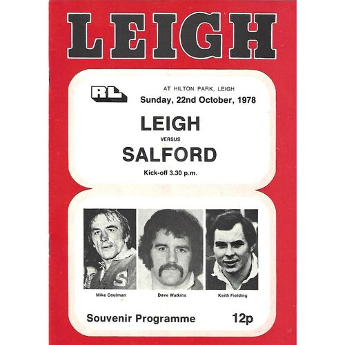 1978/79 Leigh v Salford Rugby League Programme