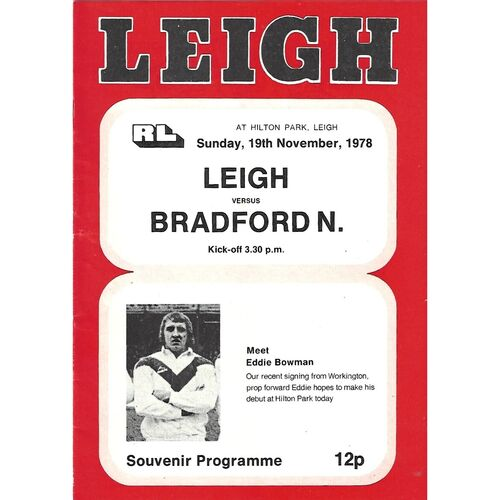 1977/78 Leigh v Bradford Northern Rugby League Programme