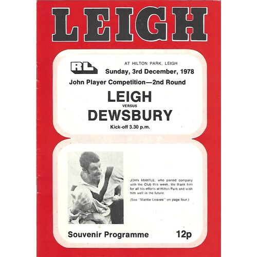 1977/78 Leigh v Dewsbury John Player Trophy 2nd Round Rugby League Programme