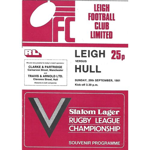 1981/82 Leigh v Hull Rugby League Programme
