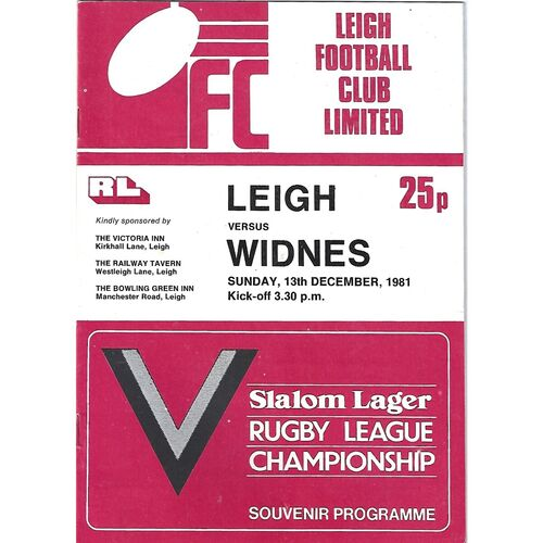 1981/82 Leigh v Widnes Rugby League Programme