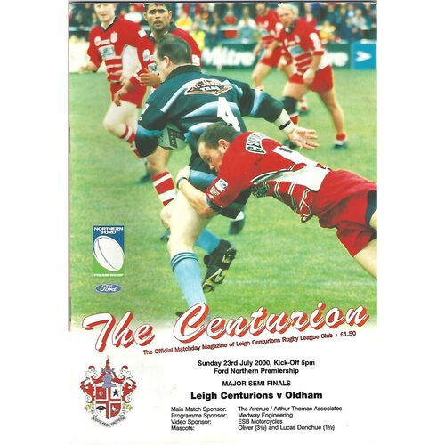 2000 Leigh Centurions v Oldham Northern Ford Premiership Major Semi Finals Rugby League Programme