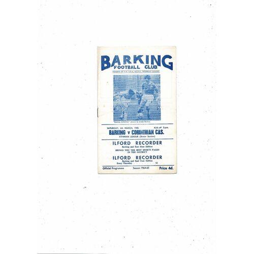 1964/65 Barking v Corinthian Casuals Football Programme