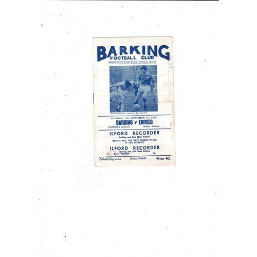 1964/65 Barking v Enfield Football Programme