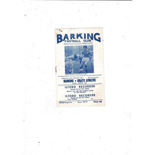 1964/65 Barking v Grays Essex Senior Cup Football Programme
