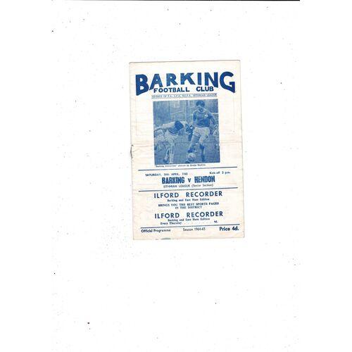 1964/65 Barking v Hendon Football Programme