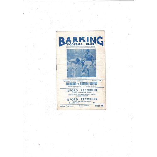 1964/65 Barking v Sutton United Football Programme