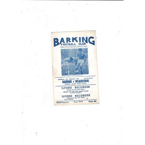 1964/65 Barking v Wealdstone Football Programme