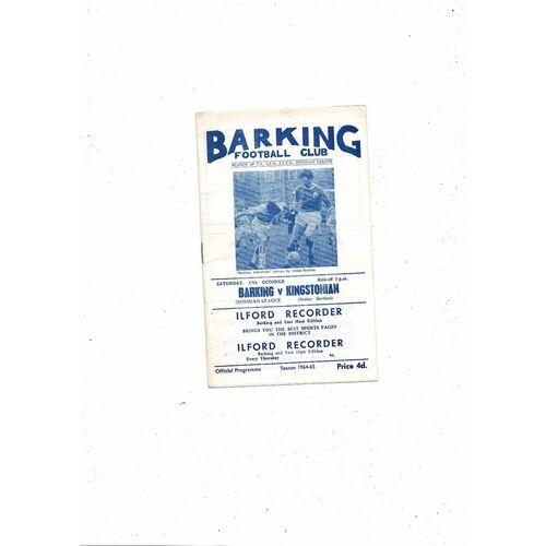 1964/65 Barking v Kingstonian Football Programme