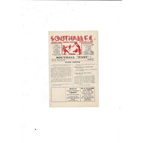 1950/51 Southall Present v Past Football Programme