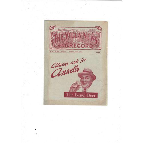 1933/34 Aston Villa v Chesterfield FA Cup Replay Football Programme