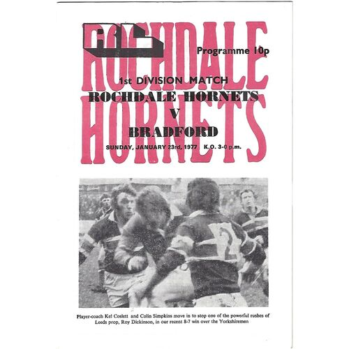 1976/77 Rochdale Hornets v Bradford Northern Rugby League  Programme