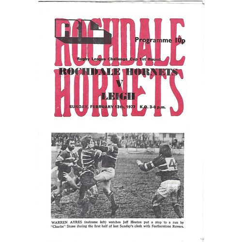 1976/77 Rochdale Hornets v Leigh Rugby League Challenge Cup 1st Round Rugby League  Programme