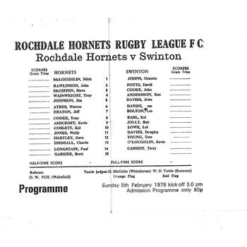 1977/78 Rochdale Hornets v Swinton Rugby League  Programme