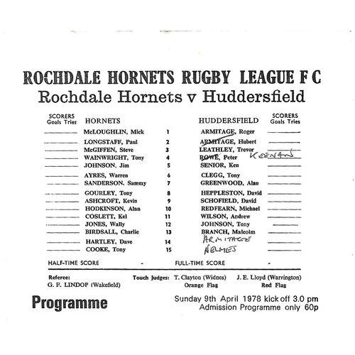 1977/78 Rochdale Hornets v Huddersfield Rugby League  Programme