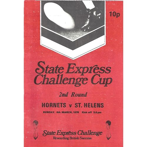 1978/79 Rochdale Hornets v St. Helens State Express Challenge Cup 2nd Round Rugby League Programme