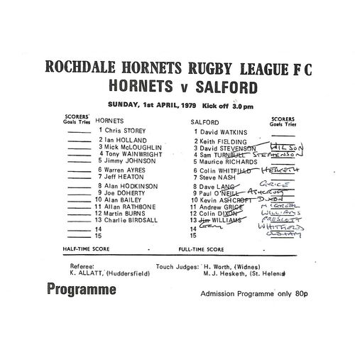 1978/79 Rochdale Hornets v Salford Rugby League Programme