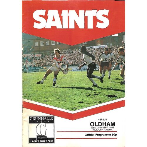 1989/90 St. Helens v Oldham Lancashire Cup 2nd Round Rugby League Programme