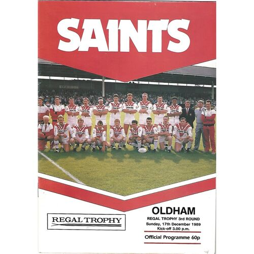 1989/90 St. Helens v Oldham Regal Trophy 3rd Round Rugby League Programme