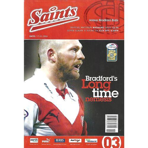 2006 St. Helens v Bradford Bulls Rugby League Programme & Teamsheet