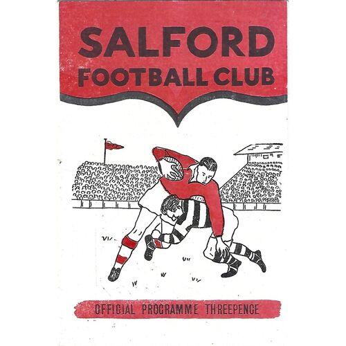 1959/60 Salford v Doncaster Rugby League Programme