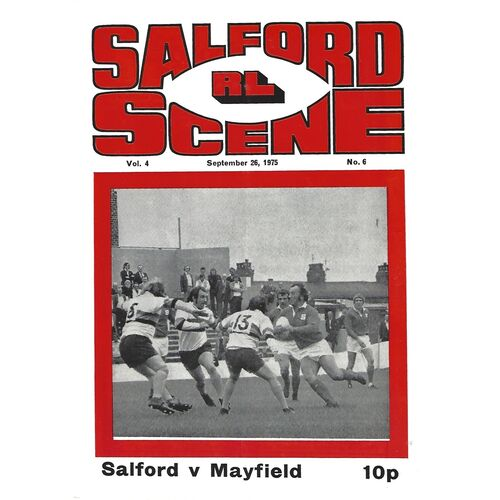 1975/76 Salford v Mayfield Player's No.6 Trophy 1st Round Rugby League Programme