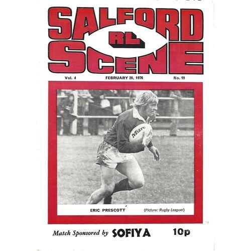 1975/76 Salford v Leeds Rugby League Programme