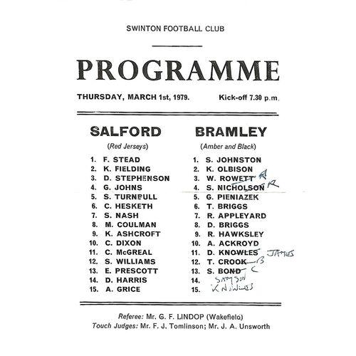 1978/79 Salford v Bramley Rugby League Programme