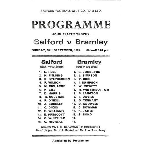1979/80 Salford v Bramley John Player Trophy Rugby League Programme
