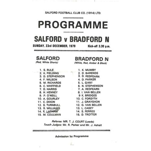 Salford Home Rugby League Programmes