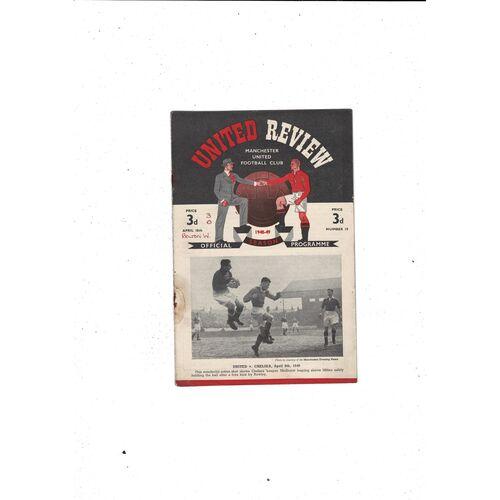 1948/49 Manchester United v Bolton Wanderers Football Programme