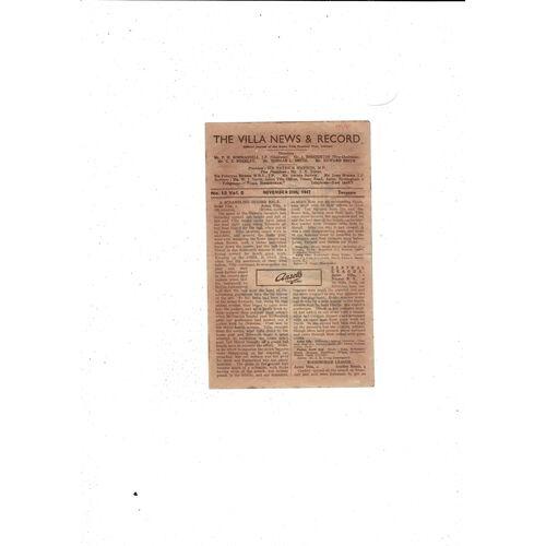 1947/48 Aston Villa v Burnley Football Programme