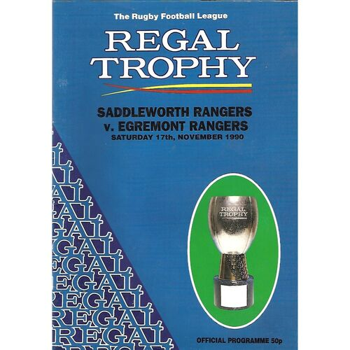 1990/91 Saddleworth Rangers v Egremont Rangers Regal Trophy Preliminary Round Rugby League Programme