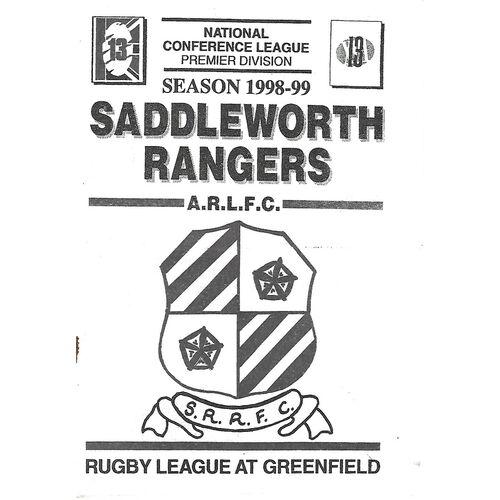 1998/99 Saddleworth Rangers v Walney Central Rugby League Programme