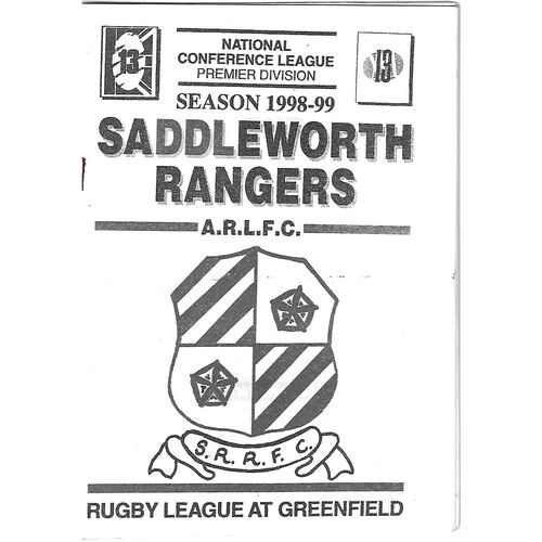 1998/99 Saddleworth Rangers v Leigh Miners Rangers Rugby League Programme