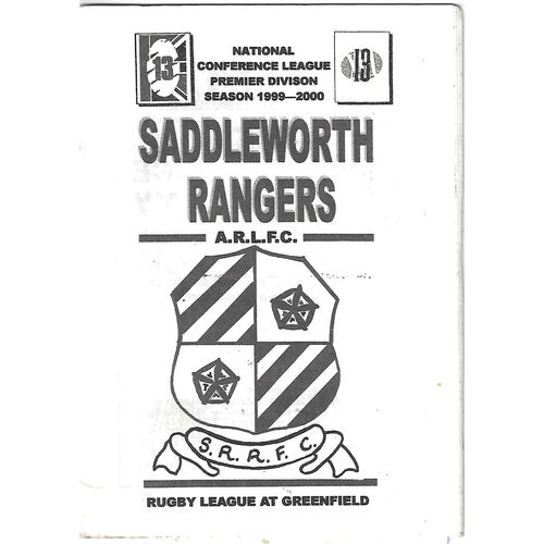 1999/00 Saddleworth Rangers v Leigh Miners Rangers Rugby League Programme