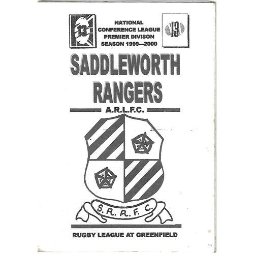 1999/00 Saddleworth Rangers v Skirlaugh Rugby League Programme