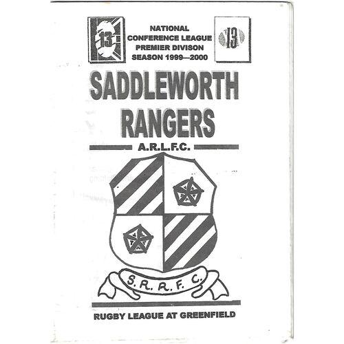 1999/00 Saddleworth Rangers v Walney Central Rugby League Programme