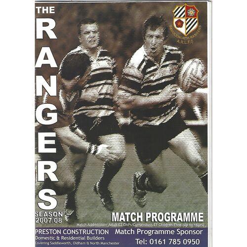 2007/08 Saddleworth Rangers v Wigan St. Judes Rugby League Programme