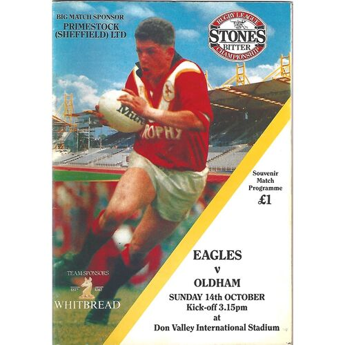 1990/91 Sheffield Eagles v Oldham Rugby League Programme