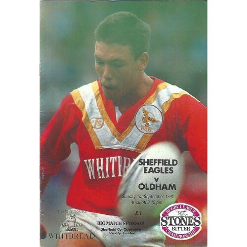1991/92 Sheffield Eagles v Oldham Rugby League Programme