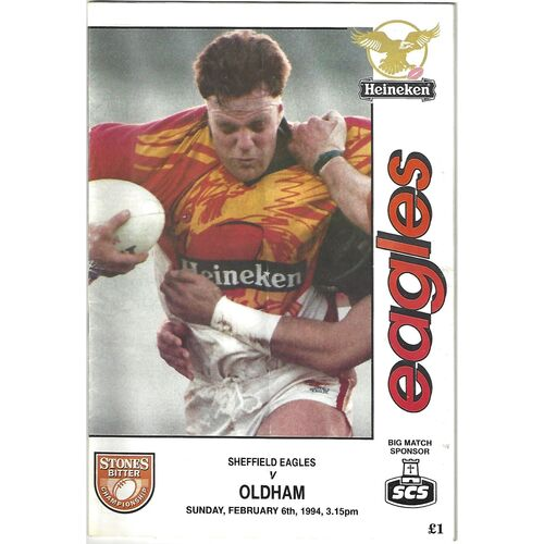 1993/94 Sheffield Eagles v Oldham Rugby League Programme