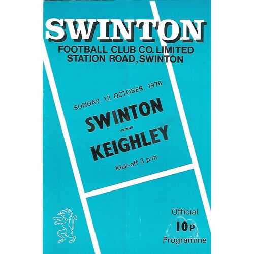 1976/77 Swinton v Keighley Rugby League Programme