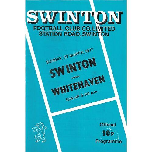 1976/77 Swinton v Whitehaven Rugby League Programme