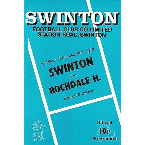 1977/78 Swinton v Rochdale Hornets Rugby League Programme