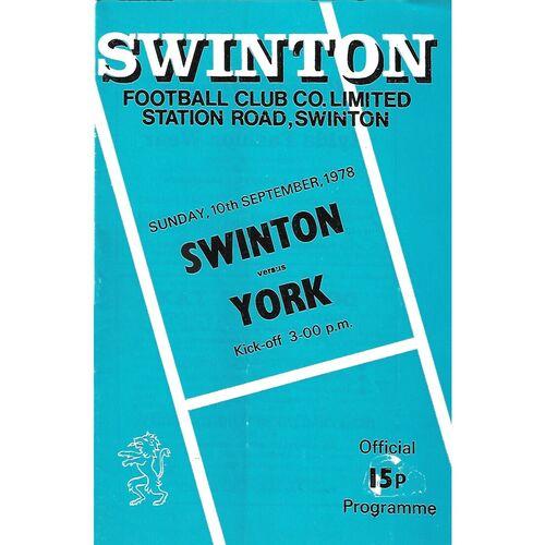 1978/79 Swinton v York Rugby League Programme