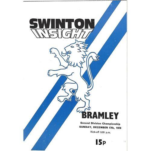1978/79 Swinton v Bramley Rugby League Programme