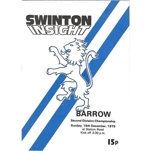 1979/80 Swinton v Barrow Rugby League Programme