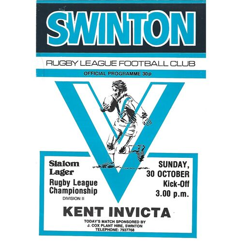 1983/84 Swinton v Kent Invicta Rugby League Programme