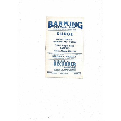 1965/66 Barking v Bromley Football Programme